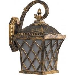 Светильник садово-парковый PL4062 четырехгранный на стену вниз 60W E27 230V, черное золото