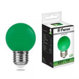 Лампа светодиодная LB-37 Шарик E27 1W Зеленый