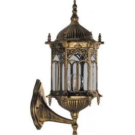 Светильник садово-парковый PL112 шестигранный на стену вверх 60W 230V E27 черное золото