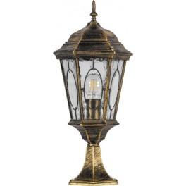 Светильник садово-парковый PL154 шестигранный на постамент 60W E27 230V, черное золото