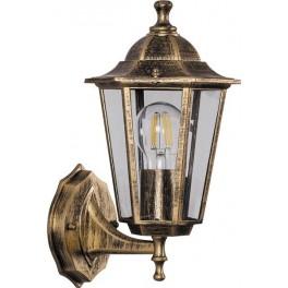 Светильник садово-парковый 6101 шестигранный на стену вверх 60W E27 230V, черное золото