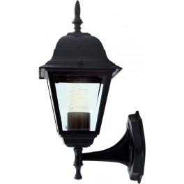 Светильник садово-парковый 4101 четырехгранный на стену вверх 60W E27 230V, черный