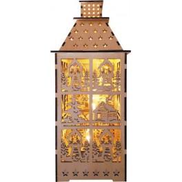 Деревянная световая фигура, 5LED, цвет свечения: теплый белый,  12*12,5*29,5 сm, батарейки 2*AA , IP20, LT091 артикул
