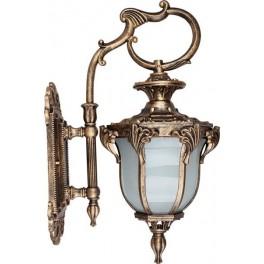 Светильник садово-парковый PL4052 шестигранный на стену вниз 60W 230V E27, черное золото