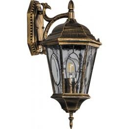 Светильник садово-парковый PL161 шестигранный на стену вниз 60W E27 230V, черное золото