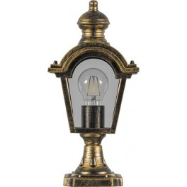 Светильник садово-парковый PL4013 четырехгранный на постамент 60W E27 230V, черное золото