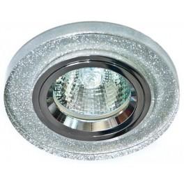 Светильник встраиваемый 8060-2 потолочный MR16 G5.3 мерацющее серебро