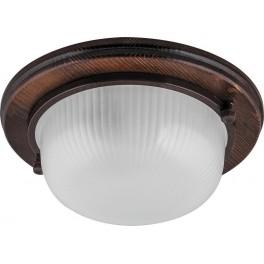 Светильник накладной IP54, 220V 60Вт Е27, дерево,орех, круг НБО 03-60-021