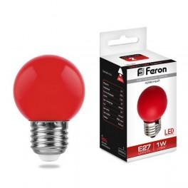 Лампа светодиодная LB-37 Шарик E27 1W Красный