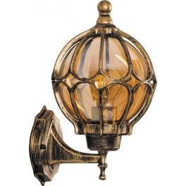 Светильник садово-парковый PL3701  круглый на стену вверх 60W 230V E27, черное золото