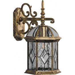 Светильник садово-парковый PL131 шестигранный на стену вниз 60W E27 230V, черное золото