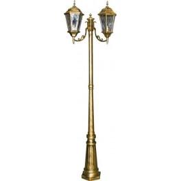 Светильник садово-парковый PL157 столб шестигранный 2*60W E27 230V, черное золото