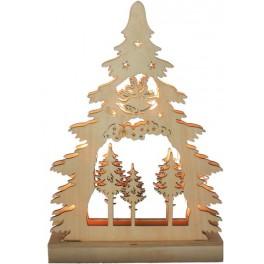 Деревянная световая фигура, 7 LED, цвет свечения: теплый белый,  22,5*4,5*32 сm, батарейки 2*AA , IP20, LT081 артикул