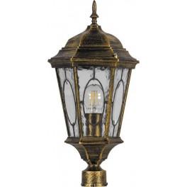 Светильник садово-парковый PL152 шестигранный на столб 60W E27 230V, черное золото