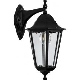 Светильник садово-парковый 6102 шестигранный на стену вниз 60W E27 230V, черный