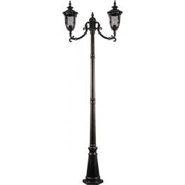Светильник садово-парковый PL5018 столб круглый 2*100W 230V E27, темно-коричневое золото