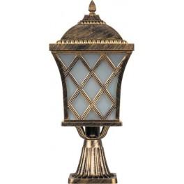 Светильник садово-парковый PL4063 четырехгранный на постамент 60W E27 230V, черное золото