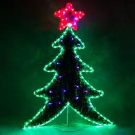 Световая фигура 230V, каркас - дюралайт 8м  24 LED/м (зеленый+красный), внутри - хвоя с гирляндой 20LED стробы (красный+синий), шнур 1,5м IP44, 111*87 см, LT061 артикул