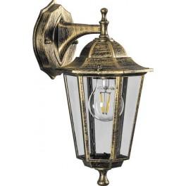 Светильник садово-парковый 6102 шестигранный на стену вниз 60W E27 230V, черное золото