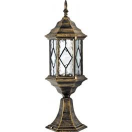 Светильник садово-парковый PL124 шестигранный на постамент 60W E27 230V, черное золото