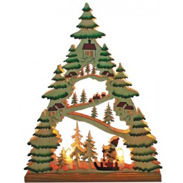 Деревянная световая фигура, 7 ламп С6, цвет свечения: теплый белый,  31*5*38,5 сm, шнур 1,4 м , IP20, LT086 артикул