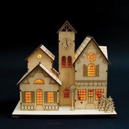 Деревянная световая фигура, 5LED, цвет свечения: теплый белый,  25*13*25 см, батарейки 2*AA , IP20, LT095 артикул