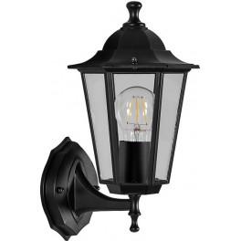 Светильник садово-парковый 6101 шестигранный на стену вверх 60W E27 230V, черный