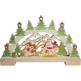 Деревянная световая фигура, 10LED, цвет свечения: теплый белый,  44*4,5*25 сm, батарейки 2*AA , IP20, LT085 артикул