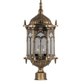 Светильник садово-парковый PL114 шестигранный на столб 60W 230V E27 черное золото
