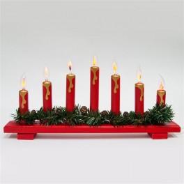 Деревянная световая фигура, 7 ламп накаливая с эффектом пламени, цвет свечения: теплый белый,  45*5*24 см, шнур 1,5 м , IP20, LT088 артикул