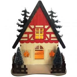 Деревянная световая фигура, 5LED, цвет свечения: теплый белый,  24*16,5*26 сm, батарейки 2*AA , IP20, LT090 артикул