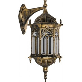 Светильник садово-парковый  PL113 шестигранный на стену вниз 60W 230V E27 черное золото