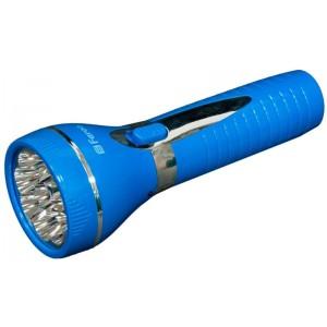 Аккумуляторный ручной фонарь голубой, 9LED 0,6W со встроенной вилкой для подзарядки 230V/50Hz, время зарядки 11 часов, время работы 5 часов при ярком режиме, 6,5 часов при обычном режиме свечения, TL041