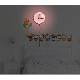 Светильник-часы 6*0,5W LEDs 5730smd с USB-проводом ( 5V адаптор в комплект не входит); 1*AA батарея ( в комплект не входит), NL75