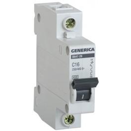 Автоматический выключатель ВА47-29 1Р 16А 4,5кА С GENERICA
