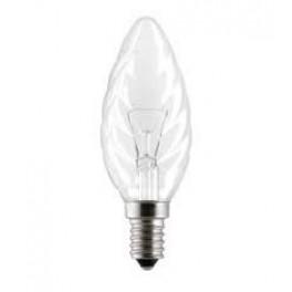"""Лампа GE 40ТС1/CL/E14 230V (витая прозрачная свеча """"хрусталь"""")"""