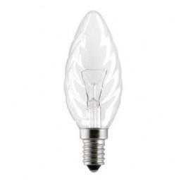 """Лампа GE 60TC1/CL/E14 230V (витая прозрачная свеча """"хрусталь"""")"""