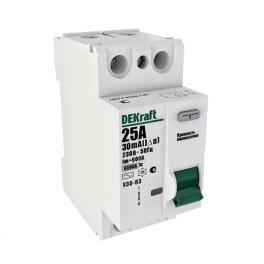 Выключатель диф. тока 2п 40А 30мА тип AC УЗО-03 6кА DEKraft