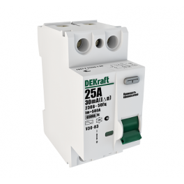 Выключатель диф. тока 2п 63А 30мА тип AC УЗО-03 6кА DEKraft