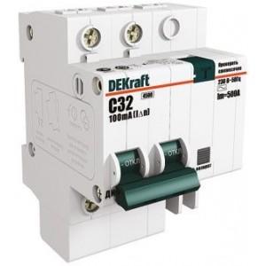 Выключатель авт. диф. тока 2п 4.5мод. C 32А 30мА тип AC ДИФ-101 4.5кА DEKraft