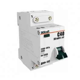 Выключатель авт. диф. тока 1п+N 2мод. C 25А 30мА тип AC ДИФ-102 4.5кА DEKraft