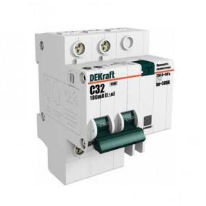 Выключатель авт. диф. тока 2п 6мод. C 50А 30мА тип AC ДИФ-101 4.5кА DEKraft
