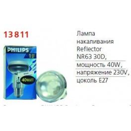 Лампа накаливания Refl 40Вт E27 230В NR63 30D 1CT/30 Philips / 871150004360378