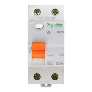 Выключатель диф. тока 2п 25А 30мА тип AC ВД63 Домовой SchE