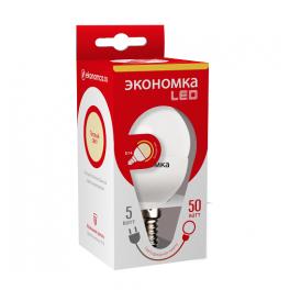 Лампа светодиодная LED 5Вт Шарик 45мм E14 3000К ЭКОНОМКА