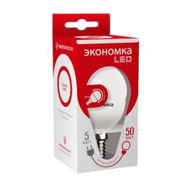 Лампа светодиодная LED 5Вт Шарик 45мм E14 4500К ЭКОНОМКА