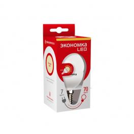 Лампа светодиодная LED 7Вт Шарик 45мм E14 3000К ЭКОНОМКА