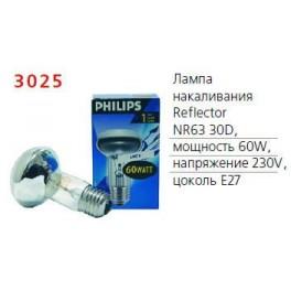 Лампа накаливания Refl 60Вт E27 230В NR63 30D 1CT/30 Philips / 871150004366578