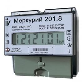 "Счетчик ""Меркурий"" 201.8 1ф 5-80А 1 класс точн. 1 тариф. имп. вых. ЖКИ табло DIN-рейка Инкотекс"