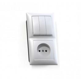 Блок СП БКВР-410 Селена (3-кл. выкл. + розетка) бел. Кунцево